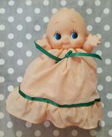 "KEWPIE BABY DOLL IN PEACH LIGHT ORANGE & GREEN DRESS & UNDERWEAR 8"" LEGS SIT VTG"