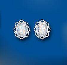 Opale Orecchini Solitario bottone argento sterling, ovale borchie