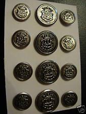 12 Pc Designer Metal Blazer Button Set 24/33 Coat Jacket Shank  Antique Silver