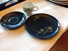 Porzellan Eschenbach Blue Glaze Kaffegedeck dunkelgrün Vintage