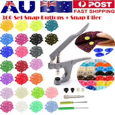 360 Sets Kam Snap Kit T5 Plastic Snaps Fastener Buttons Press Stud W/ Plier Tool