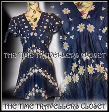 Kate Moss Topshop Floral Blue Yellow Daisy Ditsy Summer Festival Tea Dress UK 10
