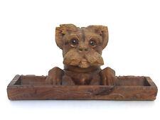 Encrier ancien tête de chien en bois . Forêt Noire . Brienz