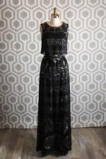 NWT Erin Featherstone Judy Gown Black Nude 2 $395 Maxi Dress