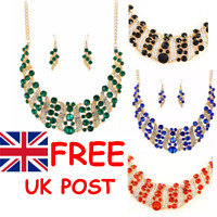 RHINESTONE CRYSTAL STATEMENT COLLAR BIB NECKLACE & EARRINGS SET in 4 Colours