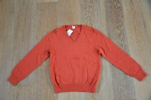 Crewcuts Jcrew Boys Orange V-Neck Cotton /Cashmere Blend Sweater Size 12 NWT
