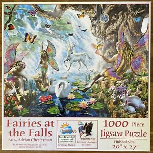 """SUNSOUT 1000 PIECE JIGSAW """"FAIRIES AT THE FALLS"""" BY ADRIAN CHESTERMAN COMPLETE"""