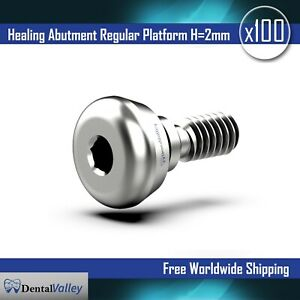 100X Dental Implants Standard Healing Cap Abutment H=2mm Compatible With Zimmer