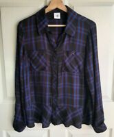 Cabi Womens Black Blue Plaid Moody Peplum Button Down Shirt Top Size Medium