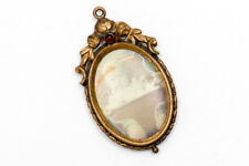 Antique Vintage Mourning Photo Picture Frame Pendant Brooch Pin Baby GF Floral