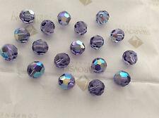 24 Swarovski #5000 7mm Crystal Tanzanite AB Faceted Round Beads