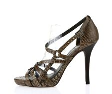Tory Burch Womens Brown Crocodile Print Leather Strappy Sandals Size 7.5 M