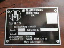 Typenschild Traktor Fortschritt RS 09 GT122 GT 122 Schild VEB DDR Schönebeck S27