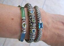 Sterling Silver Blue &  Green Onyx, Peridot, Topaz Bracelet