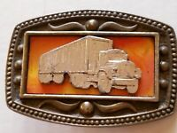 "Trucker Belt Buckle Trucking Men's CII New York Vintage 3.5 x 2.25"" Silver-tone"