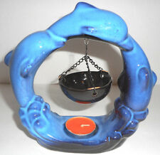 Blue Dolphin Tea Light Candle Holder Scented Wax/Oil  Figurine NICE