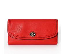 New Coach Ashley Park Leather Checkbook Wallet Purse F51765 Vermillion