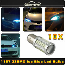 10 x Ice Blue 1157 BAY15D 33-SMD Car Tail Brake Stop Led Light Bulb 2057 7528