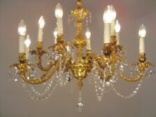 brass crystal chains chandelier ceiling lamp 12 light lustre used old gold
