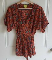 Maeve Anthropologie Womens Floral Maes Silk Kimono Blouse Top Shirt Size Small