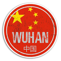2 x 10cm Wuhan China Vinyl Stickers - Flag Travel Sticker Laptop Luggage #20114