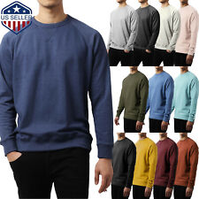 Mens SWEATSHIRTS FRENCH TERRY Sweater Cotton Casual T Shirts Crew Neck Soft