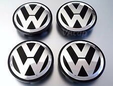 NEW VW VOLKSWAGEN WHEEL RIM CENTER HUB CAPS CHROME LOGO 3B7601171XRW 4pcs Black