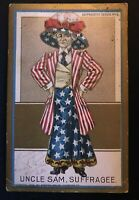 Rare~1915~Woman Suffrage Postcard-Votes for Women~Suffragette Lady as Uncle Sam
