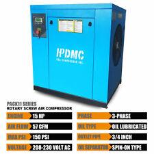 Rotary Screw Compressor 230 V 3 Phase 15 Hp 125 150psi57 46cfm Pack11 Hpdmc