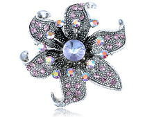 Vintage Genuine Purple Style Rhinestone Flower Fashion Pin Brooch Jewelry Gift