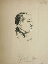 Dessin Ancien Encre LUCIEN METIVET Portrait Homme BERTHON Paris-Soir