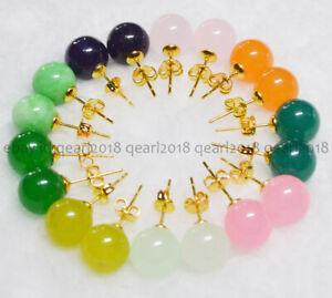 10 Colors Natural 10mm Multi-Color Jade Agate Gemstone Gold Stud Earrings