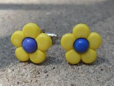 Yellow & Blue Flower Cufflinks Colorful Artistic Artsy Handmade Cool Eco Vegan
