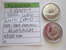 ANDORRA, 1 centim, 1999 unc, Km 171 (1999) FAO:  Food for all