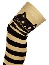 Cotton Rich Kitty Cat Striped Over Knee Thigh High Long Socks Tights Stockings