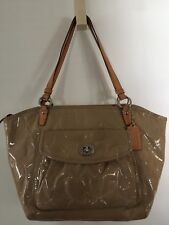 COACH Signature Embossed Leah Lg Tote Tan Ivory #F14663 Handbag
