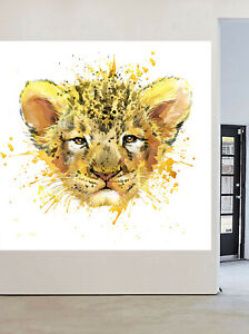 Lion Cub art painting canvas cat hand painted framed leopard animal africa