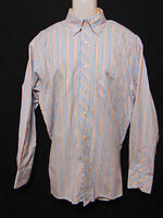 TOMMY HILFIGER Mens Dress Shirt Large Striped Long Sleeve 80s 2 Ply Long Sleeve