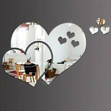 Love Heart Mirror Tiles Kitchen Wall Sticker Stick on Decal Room Bedroom Decors