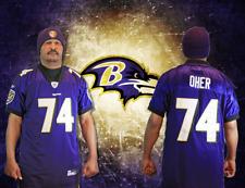 Men's Baltimore Ravens #74 Purple/Gold Michael Oher Jersey/Toboggan:Size 50