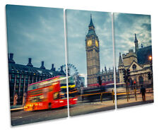 London Red Bus Big Ben Picture TREBLE CANVAS WALL ART Print