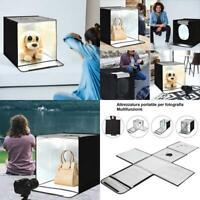 Studio Fotografico Portatile Con 2 Pannelli Luminosi Set Di Accessori Pe
