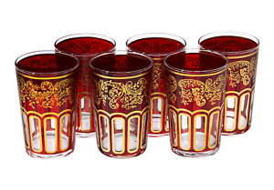 Moroccan Tea Glasses Red Classical Design Hand Painted Pack of 6