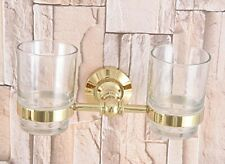 Gold Color Brass Wall Mounted Bathroom Toothbrush Holders Dual Glass Cups Zba318