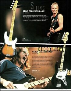 The Police Sting Fender Precision Bass + Rush Geddy Lee Jazz Bass ad print