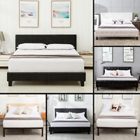 Contemporary Queen Size Metal Bed Frame Platform Headboard Bedroom Furniture
