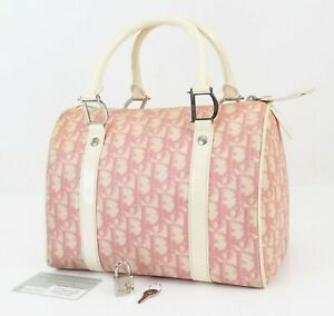 Authenti CHRISTIAN DIOR Pink Trotter Canvas and Leather Boston Hand Bag #39272