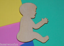 Sitting Baby Unfinished Flat Wood Shape Cut Out SB433 Variety Szs Laser Crafts