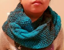 hand-knitted double loop scarf with lion brand Scarfie yarns(charcoal/aqua)