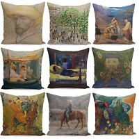 "18"" Oil Painting Pillow Case Cotton Linen Sofa Waist Cushion Cover Home Decor"
